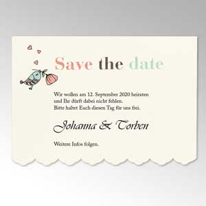 Save-the-date Karte mit Wellenkante